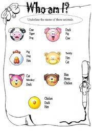 English Worksheets: ANIMALS - MATCHING