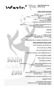 English Worksheet: 2010 FIFA WORLD CUP Anthem Song