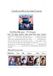 English Worksheet: Charlie and the Chocolate Factory movie worksheet
