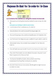 English Worksheets: so that in case