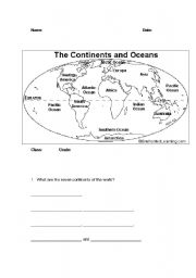 ESL worksheets for beginners Continents and Oceans