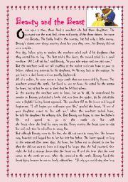 Beauty And The Beast Esl Worksheet By Sonia Eslteacher