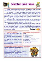 English Worksheet: SCHOOLS IN GREAT BRITAIN