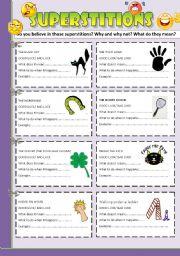 English Worksheet: Speaking cards: SUPERSTITIONS