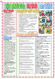 English Worksheet: The article: