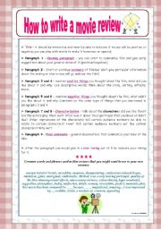 English Worksheet: How to write a movie review