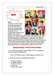 English Worksheet: GLEE! - Lean on me listening activity