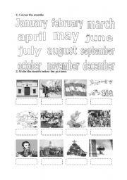 English worksheet: months and celebration dates