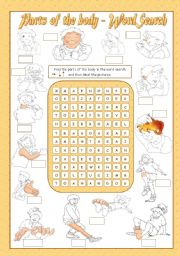 English Worksheets: PARTS OF THE BODY - Wordsearch