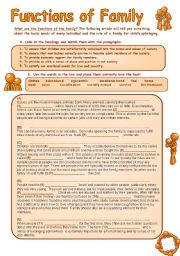 English Worksheets: Family and its Functions - Reading Comprehension