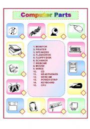 English Worksheet: Computer Parts Match