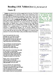 English Worksheet: Reading The Lord of the Rings by J.R.R.Tolkien - with exercises (Part 12)