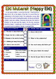 English Worksheet: Reading comprehension. (Festivals and celebrations around the world)