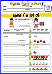 English Worksheets: SOME / A LOT OF