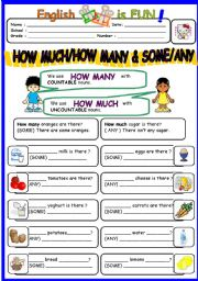 English Worksheet: How Much/ How Many and Some/Any