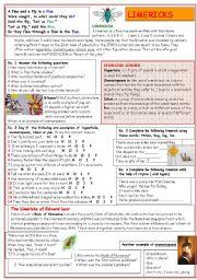 English Worksheets: Limericks