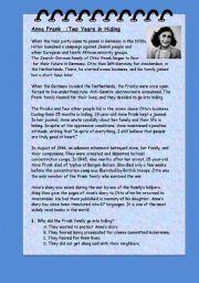 English Worksheets: Anna Frank  Reading Comprehension