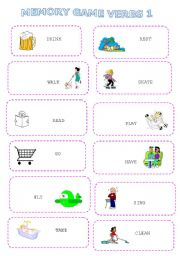 English Worksheets: Memory game verbs 1