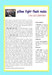 English Worksheets: pillow fight flash mobs