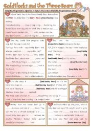 English Worksheet: Fairy Tales/ Stories (10): Goldilocks and the Three Bears - Possessives