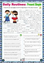 English Worksheet: Daily Routines  -  Present Simple -  Context: normal school day