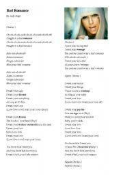 English Worksheets: Lady Gaga, Bad Romance Song Lyrics, Listening Activity and Vocab Exercises