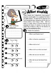 English Worksheet: RC Series Level 1_33 Albert Einstein (Fully Editable + Answer Key)