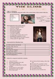 English Worksheets: THE CLIMB BY MILEY CYRUS