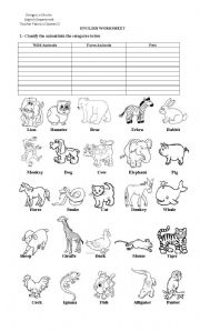 English Worksheets: Classify the animals