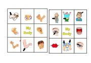 English Worksheets: LETS PLAY BINGO BODY  PARTS