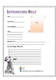 English Worksheets: Introducing Self
