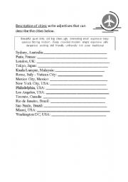English worksheet: Adjectives to describe cities