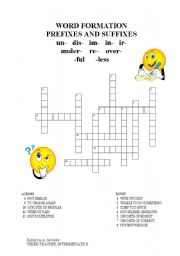WORD FORMATION: PREFIXES AND SUFFIXES (CROSSWORD)