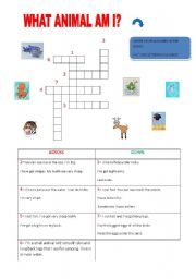 English Worksheets: GUESS! WHAT ANIMAL AM I?