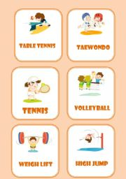 English Worksheet: sports flashcards ( 4 pages )