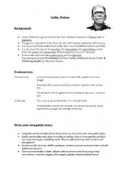 English Worksheets: Gothic Fiction