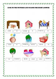 English Worksheet: PREPOSITION: IN, ON, UNDER, IN FRONT OF, BEHIND