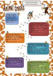 English Worksheets: Animal Tracks