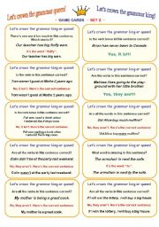 English Worksheet: LET´S CROWN THE GRAMMAR QUEEN OR KING! • FUN CLASSROOM CHALLENGE • CARD GAME • fully editable speaking and listening activity • 30 cards (SET 2) • clear ´how-to-play´ instructions included :))))
