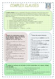 English Worksheets: COMPLEX CLAUSES