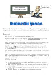 English Worksheets: Demonstration Speech Assignment