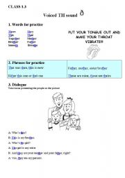 English Worksheets: Voiced TH Sound Training