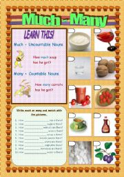 English Worksheet: QUANTIFIERS: MUCH - MANY