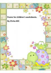 English Worksheet: Turtle & Frog (Frame For Children)