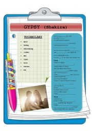English Worksheet: Gypsy (Lyric of the latest single of Shakira)
