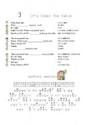 English Worksheets: It�s under the table
