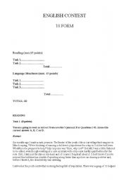 English Worksheet: 10th form English contest