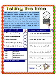 English Worksheet: Reading comprehension. Telling the time.
