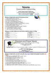 English Worksheets: Common & Proper Nouns (w. answer key)