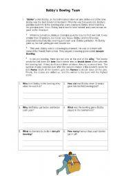English Worksheets: BOBBY´S BOWLING TEAM
